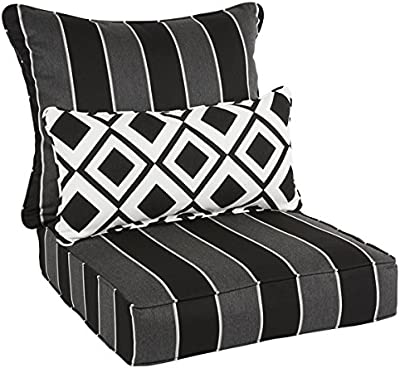 I Love Living Oakley Sunbrella Striped Indoor/ Outdoor Corded Pillow And  Chair Cushion Set