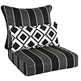 Oakley Sunbrella Striped Indoor/ Outdoor Corded Pillow and Chair Cushion Set | Black