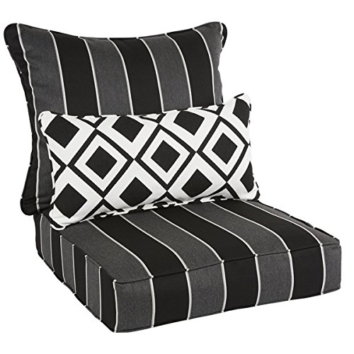 Oakley Sunbrella Striped Indoor/ Outdoor Corded Pillow and Chair Cushion Set | Black by Sunbrella