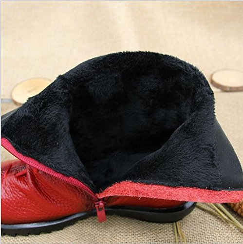 Leather Women's Fleece Duberess Toe Red Boot Cap Side Real Ankle Zipper qIww4dP