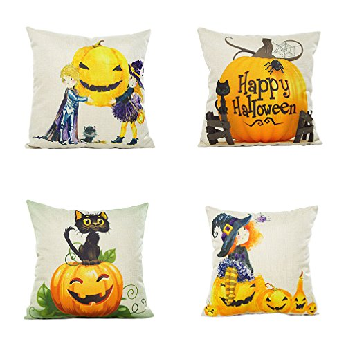 PSDWETS Happy Halloween Decorations Cute Watercolor Kids,Cat and Pumpkin Pillow Covers Set of 4 Home Decor Cotton Linen Throw Pillow Covers Cushion Cover 18 X -