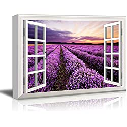 "Canvas Print Wall Art - Window Frame Style Wall Decor - Beautiful Scenery/Landscape Purple Lavender Field at Sunset Time | Giclee Print Gallery Wrap Modern Home Decor. Stretched & Ready to Hang - 24"" x 36"""