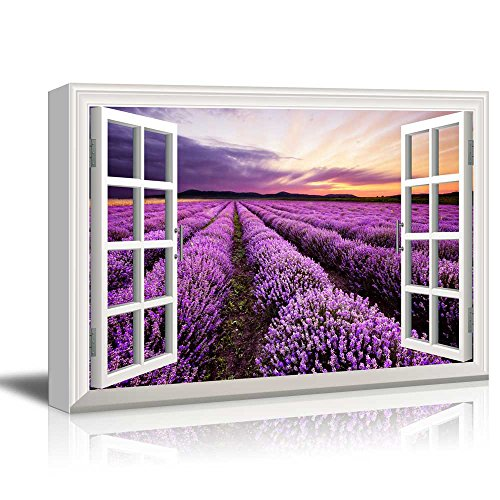 Print Window Frame Style Wall Decor Beautiful Scenery Landscape Purple Lavender Field at Sunset Time Stretched