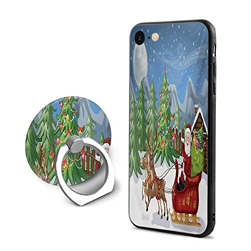 Christmas iPhone 6 Plus/iPhone 6s Plus Cases,Country Landscape at Night with Trees Santa Claus Snowdrift Reindeers Mountains Multicolor,Mobile Phone Shell Ring Bracket ()