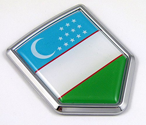 Uzbekistan Flag Car Chrome Emblem Decal 3D bumper Sticker bike Crest