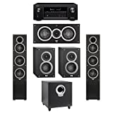 Elac 5.1 System with 2 Debut F5 Floorstanding Speakers, 1 Debut C5 Center Speaker, 2 Debut B4 Bookshelf Speakers, 1 Debut S10 Subwoofer, 1 Denon AVR-X2300W A/V Receiver