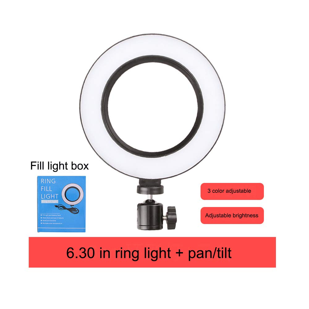 Baojintao Phone Live Selfie LED Ring Fill Light and Pan/Tilt, Self-Timer Photography Fill Light for Beauty Makeup Live Show,6.3in