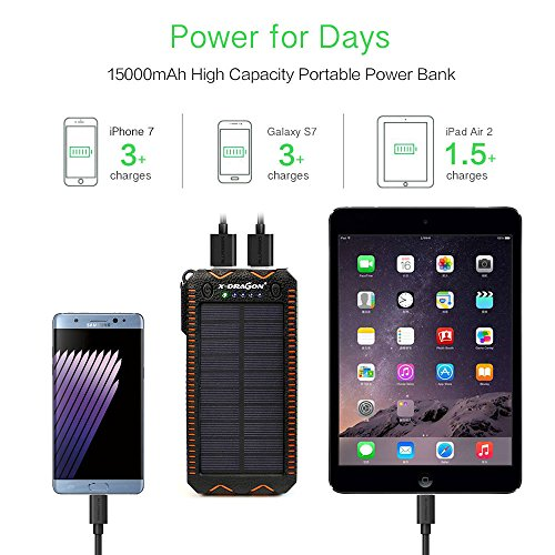 Solar Charger X DRAGON Solar power Bank using Cigarette Lighting 15000mAh mobile Dustproof Shockproof combined USB Solar Panel combined awesome bright and vivid LED lighting for iPhone Samsung Galaxy and alot more Orange Solar Chargers