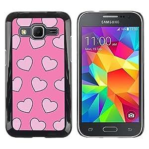 TopCaseStore / la caja del caucho duro de la cubierta de protección de la piel - Pink Hearts Pink Xoxo - Samsung Galaxy Core Prime SM-G360
