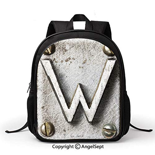 Casual Style Lightweight Canvas Kindergarten kids Uppercase W Bolt Screws Industrial Kitsch Artful Symbolic Person Initials Image DecorativeSilver Gold Fashion Backpack School Bag Travel Daypack