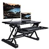 Furmax Height Adjustable Standing Desk - 35'' wide platform sit to stand up Riser Converter Desk Workstation fits Dual Monitor(Black)