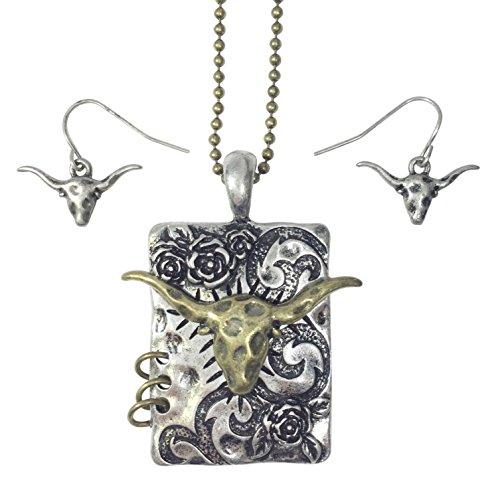 - Longhorn Bull Western Theme Necklace & Earrings Set (2 Tone)