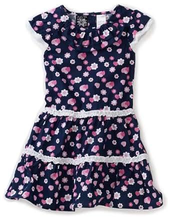 So La Vita Little Girls' Toddler Heart Print Dress, Navy, 2T
