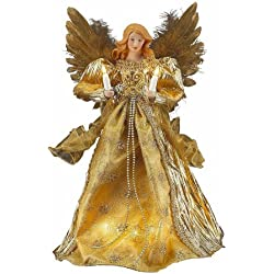 Kurt Adler 10-Light Angel Treetop, 14-Inch, Gold