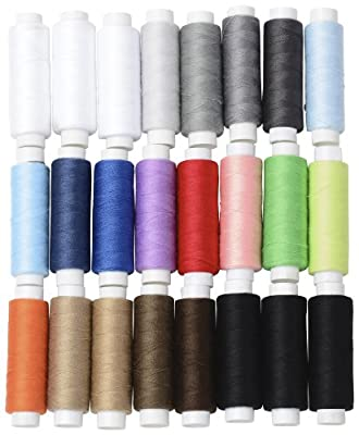BYKES Set of 24 Assorted Spools of Polyester Sewing Thread Full Size 200 Yards Each by BYKES Technologies®