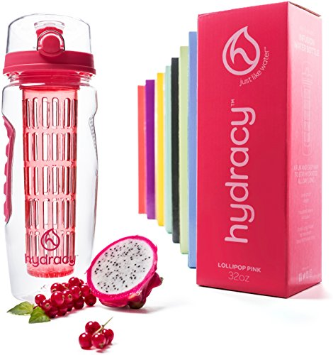 Hydracy Fruit Infuser Water Bottle - 32 Oz Sport Bottle with Full Length Infusion Rod and Insulating Sleeve Combo Set + 25 Fruit Infused Water Recipes eBook Gift - Lollipop Pink (Gift Baskets To Go)