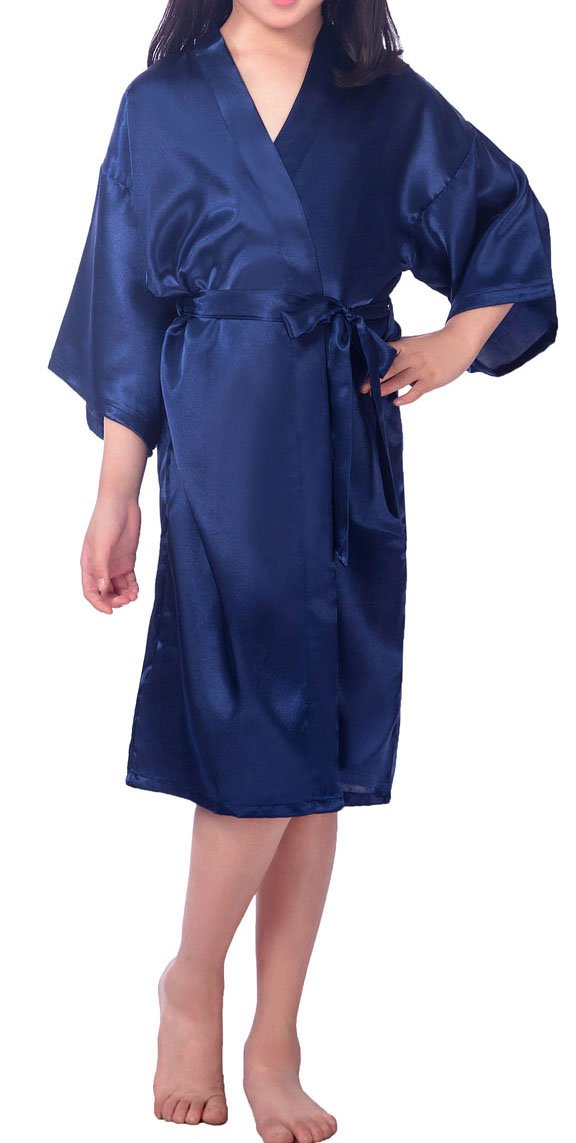 Shiny Toddler Little/Big Girls Lightweight Satin Robe Flower Girl Lounge Bathrobe