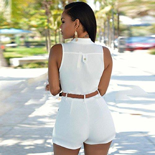 Tongshi Manera de las mujeres sin mangas del vendaje de Bodycon del mono del mameluco de la tarde de Clubwear Blanco