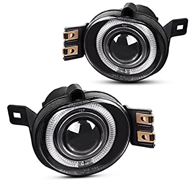 Halo Projector Fog Lights Compatible with 2002-2008 Dodge Ram 1500 2500 3500 (Real Glass Clear Lens w/ H7 12V 55W Bulbs): Automotive