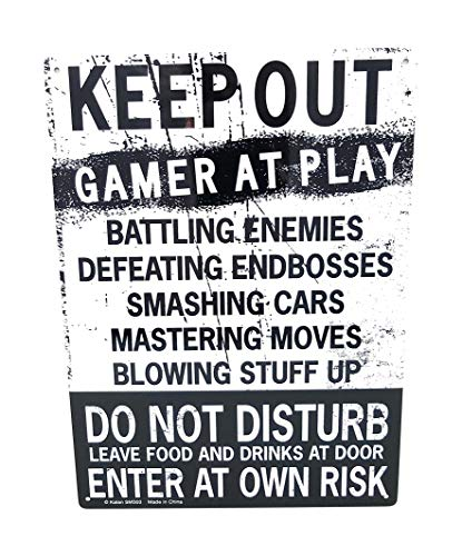 KEEP OUT Gamer At Play ENTER At Own Risk Funny Novelty Tin Sign by -