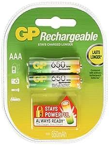 GP - Paquete de 2 pilas recargables AAA Ni-Mh (1,2 V, 650 mAh)