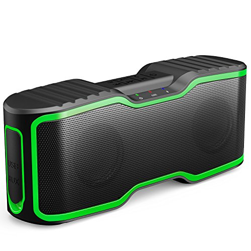 AOMAIS Sport II Portable Wireless Bluetooth Speakers 4.0 with Waterproof IPX7, 20W Bass Sound, Stereo Pairing, Durable Design for Backyard, Outdoors, Travel, Pool, Home Party (Green)
