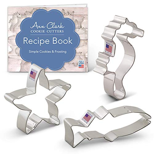 Ann Clark Under The Sea Cookie Cutter Set with Recipe Book - 3 Piece - Starfish, Fish, and Seahorse - USA Made Steel
