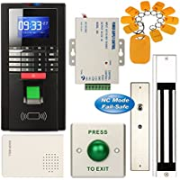 Access Control System, ZOTER Fingerprint Entry RFID ID Card Password Reader Time Attendance Security 280KG Magnetic Door Lock  Kit Black