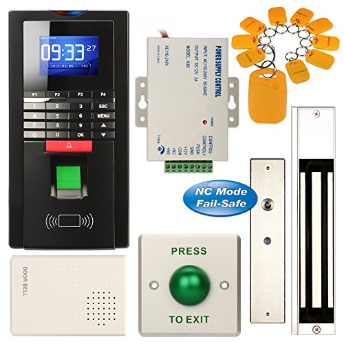 Access Control System, ZOTER Fingerprint Entry RFID ID Card Password Reader Time Attendance Security 280KG Magnetic Door Lock  Kit Black by ZOTER