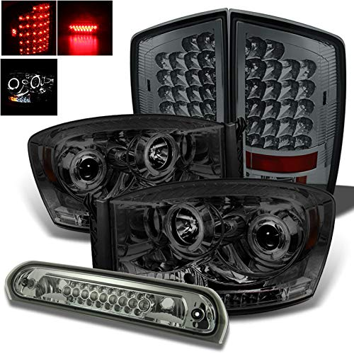 Xtune for 2006 Dodge Ram Smoked Halo Projector Headlights + LED Tail Lights + LED 3rd Brake Cargo Lamp