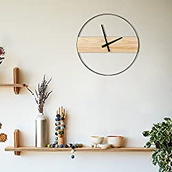 HROOME 3D Black Round Wood and Metal Wall Clock Silent Non Ticking 16 inch Battery Operated for Home Decorative Living Room Nordic Simple Style (round-16inch)