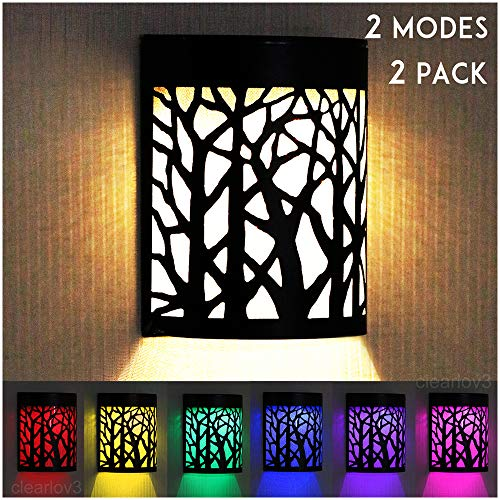 UPSTONE Outdoor Solar Wall Forest Night Light, 2 Modes Solar Lights Dark Sensor Step Deck Landscape Lighting for Outdoor Garden Pathway Stairs Fence,Warm White/Color Changing 2 Packs