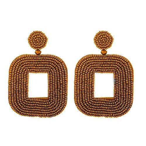 (Statement Bead Hoop Dangle Earrings - Bohemia Pure Handmade Simple Square Drop Earrings For Women Accessories (Square-Brown))