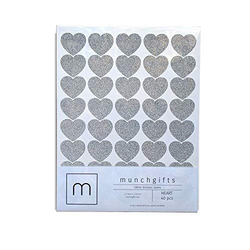 Non Shed Heart Glitter Stickers Set (1.5 inch - 40 pcs, Silver)