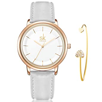 SHENGKE Womens Watch Gift Set Quartz Leather Strap Simple Ladies Watch Girls Dress Wristwatch with Bracelet