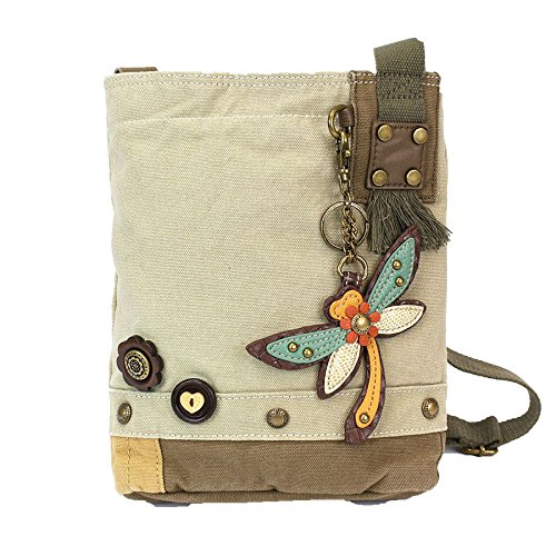 Chala Patch Cross-Body Women Handbag, Sand Color Canvas Messenger Bag - Dragonfly