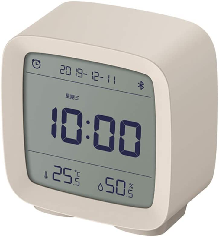 Dewanxin para QingPing Inalámbrico Bluetooth Digital Alarma Despertador,con Toque Lámpara de Noche,Termómetro e Higrómetro,Pantalla LCD con Alarmas Función de Snooze,Bluetooth 5.0,para MiHome (White)
