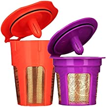 Brew-Oro 24K Gold Reusable K Cup and K Carafe Coffee Filter Pod - Accessories for Keurig 2.0 K200, K300, K400, K500 Series and 1.0 Brewers - Bonus Coffee Scoop