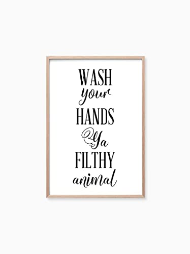 Amazon Com Bathroom Wall Decor Funny Print Bathroom Shower Printable Typography Wall Art Bathroom Prints Wash Your Hands Ya Filthy Animal 8 X 10 Unframed Handmade