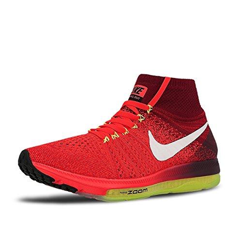 Nike Frauen Zoom All Out Flyknit Laufschuhe Bright Crimson / Team Rot / Volt / Weiß