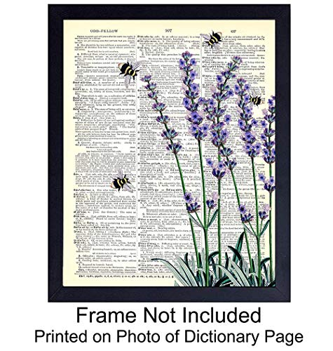 (Floral Upcycled Dictionary Wall Art Print - 8X10 Vintage Unframed Photo - Perfect Easy Gift and Great for Home Decor)