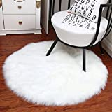 Noahas Faux Sheepskin Area Rugs Silky Long Wool Carpet for Living Room Bedroom, Children Play Dormitory Home Decor Rug, 4ft x 4ft White