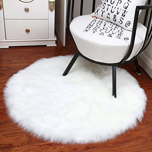Noahas Faux Sheepskin Area Rugs Silky Long Wool Carpet for Living Room Bedroom, Children Play Dormitory Home Decor Rug, 4ft x 4ft - Circles Colorful Accents