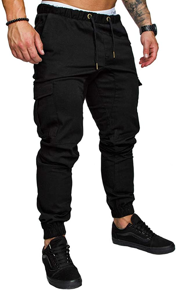 Casual Drawstring Elasticated Waist Slim Fit Work Trousers Sweatpants Tracksuit Mens Cargo Jogger Pants