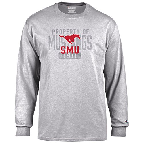 (Champion NCAA Men's Long Sleeve Lightweight T-shirt Officially Licensed 100% Cotton Tagless Tee SMU Mustangs X-Large )