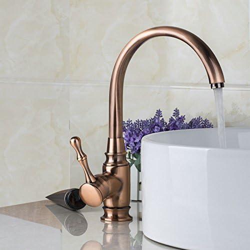 YANKSMART High Arc Antique Copper Swivel Spout Bathroom Kitchen Sink Faucet Single Handle