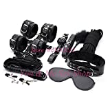 Plush black leather 10 piece kit BDSM bondage sex toys fetishes erotic sex game products hand cuffs collar gag for couples