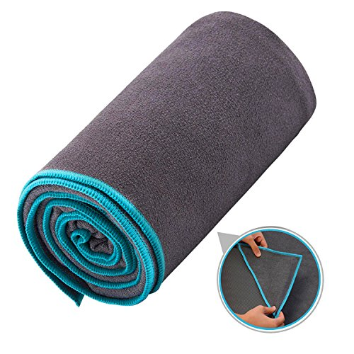 Ewedoos Yoga Towel with Anchor Fit Corners, 100% Microfiber Non Slip Yoga Towel, Super Soft, Sweat Absorbent, Ideal for Hot Yoga, Pilates and Workout (Blue Trim)