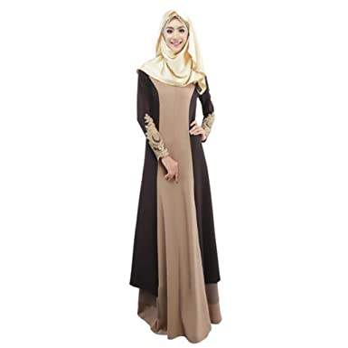 6fd22ec5845 Amazon.com: Womens Muslim Kaftan Abaya Long Maxi Party Dress Arab Jilbab  Islamic Ethnic Lace Robe Vintage Cocktail Evening Gown: Clothing