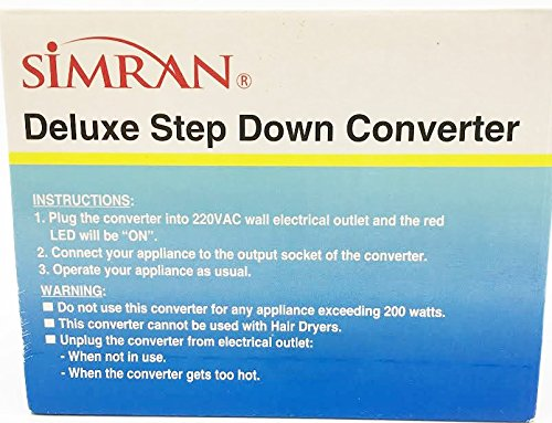 Simran SMF-200 Deluxe 200 Watts Step Down Voltage Converter for International Travel to 220V Countries Ideal for Laptops, Cameras, Phones, iPads etc